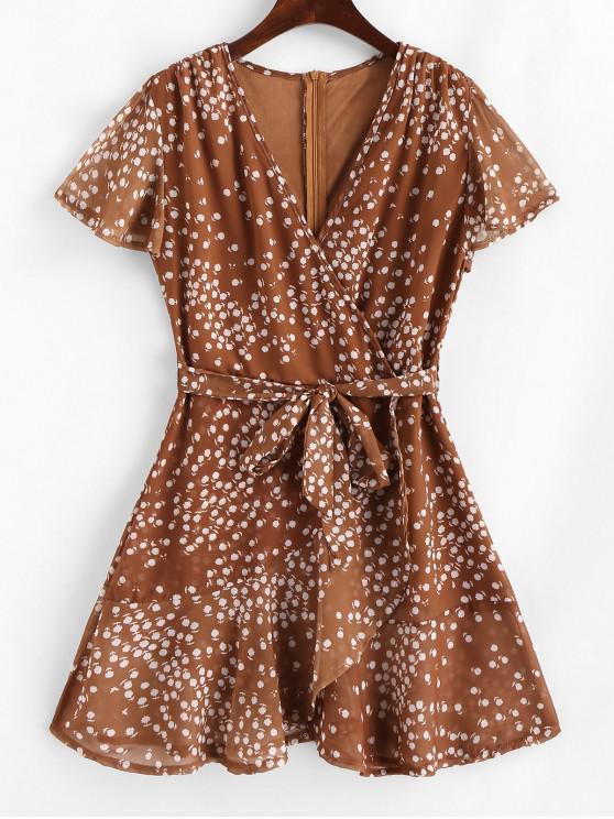 womens Ruffles Tiny Floral Belted Surplice Dress - ORANGE SALMON L