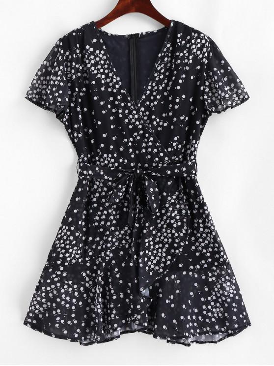 Vestido minúsculo con volantes y estilo floral de Surplice - Negro M