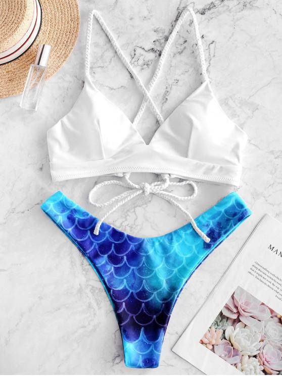 buy ZAFUL Lace Up Mermaid High Cut Bikini Swimsuit - MULTI-A S