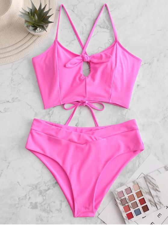 womens ZAFUL Lace Up Cross Knotted Tankini Swimsuit - NEON PINK L