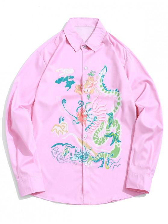 women's Floral Abstract Dragon Graphic Print Curved Hem Shirt - FLAMINGO PINK S
