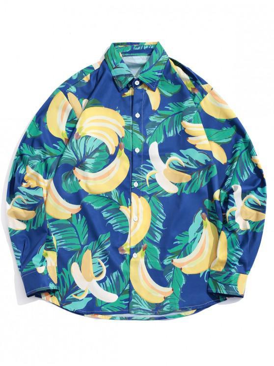 unique Tropical Leaf Banana Print Long Sleeves Button Shirt - MEDIUM SEA GREEN 2XL