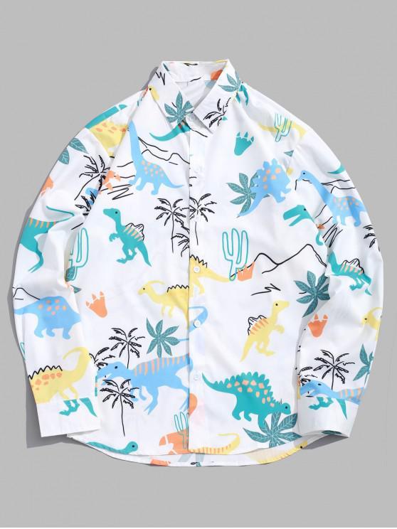 Camisa de manga larga informal con estampado de palmeras de dinosaurio - Blanco L
