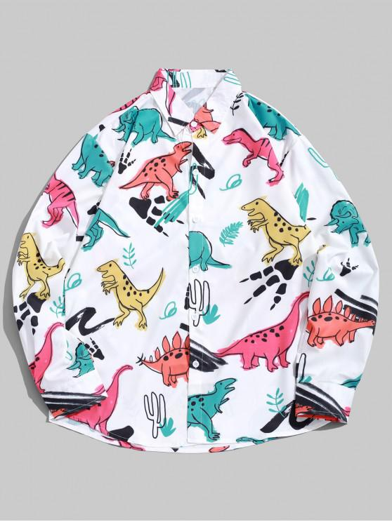 chic Cartoon Dinosaur Plant Print Long Sleeves Button Shirt - WHITE M