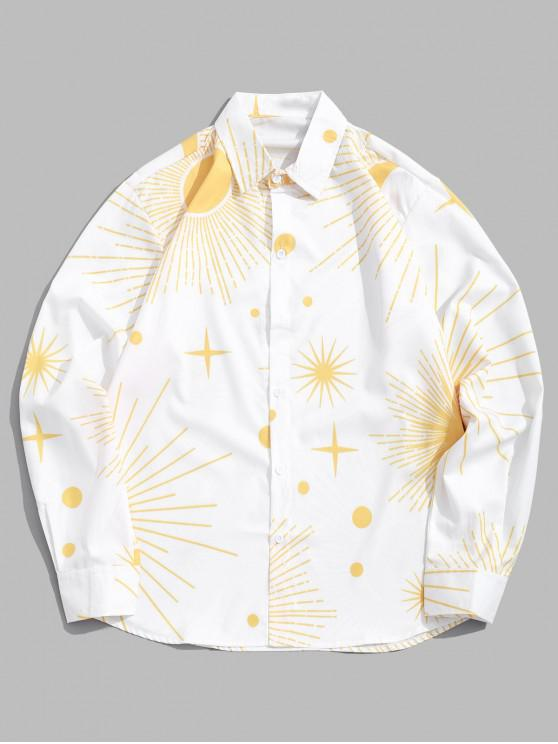 fancy Sparkly Sun and Moon Star Dots Print Long Sleeve Shirt - WHITE M