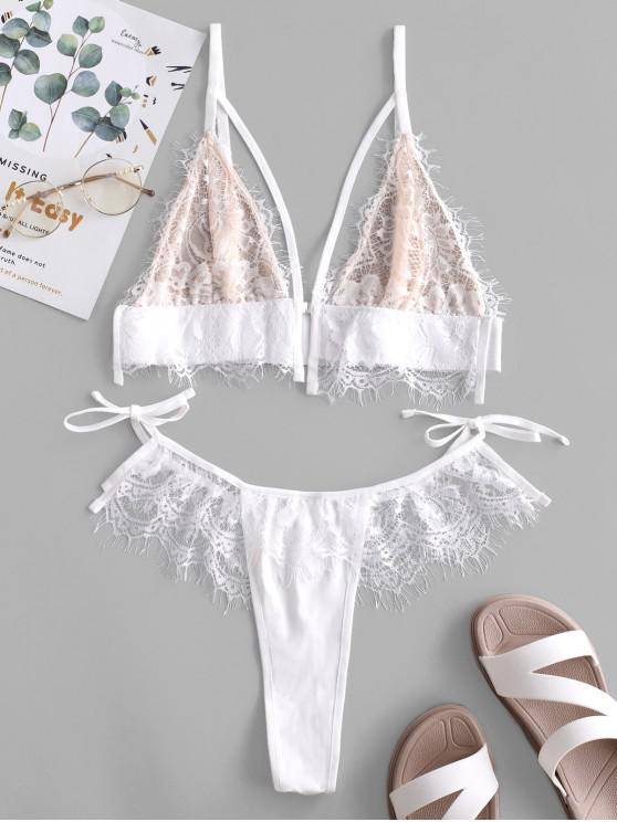 women's Lace Insert Eyelash Hook Front Thong Lingerie Set - WHITE M