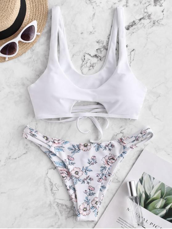 hot ZAFUL Floral Strappy Cutout Tank Bikini Swimsuit - WHITE M