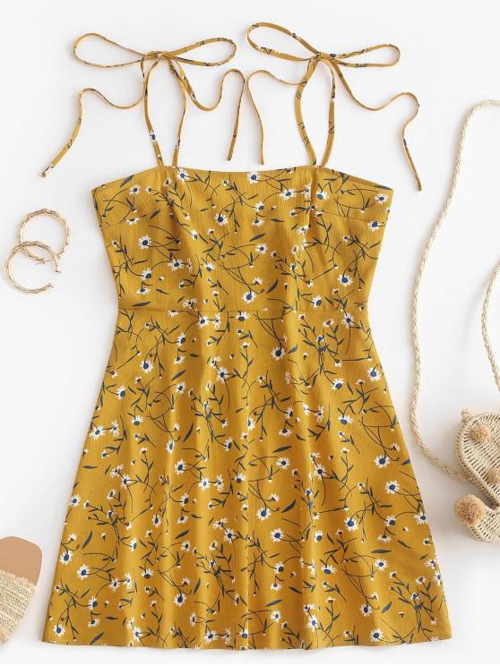 lady ZAFUL Ditsy Print Tie Sundress - BEE YELLOW XL