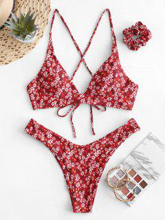 ZAFUL Tiny Floral Criss Cross Bikini Swimsuit With Hair Tie - Lava Red M