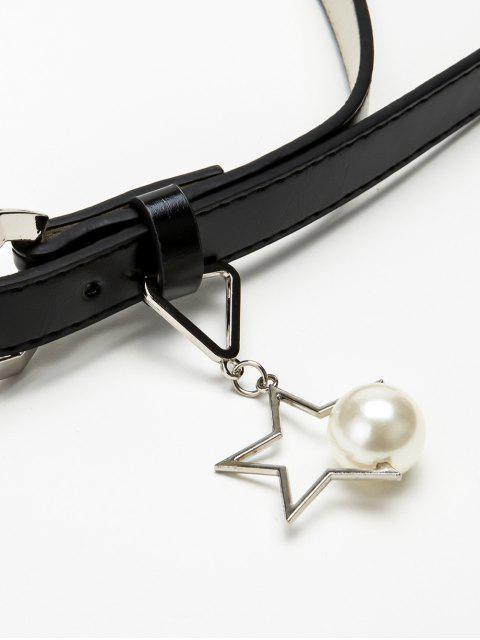 Ceinture Bouclée Etoile avec Perle - Noir  Mobile