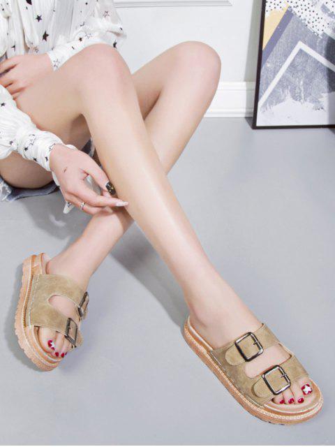 Sandales Plates à Double Boucle en PU - Kaki EU 37 Mobile