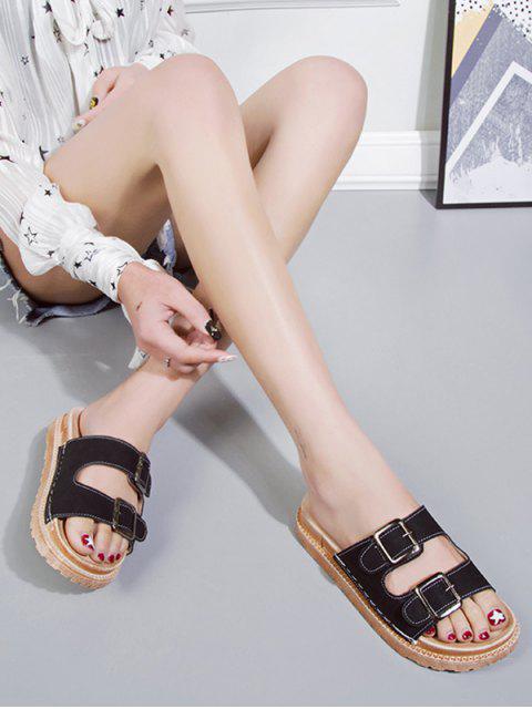 Sandales Plates à Double Boucle en PU - Noir EU 37 Mobile