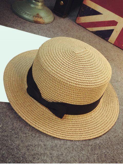 Chapeau de Soleil Plat Nœud Papillon en Paille - Kaki  Mobile