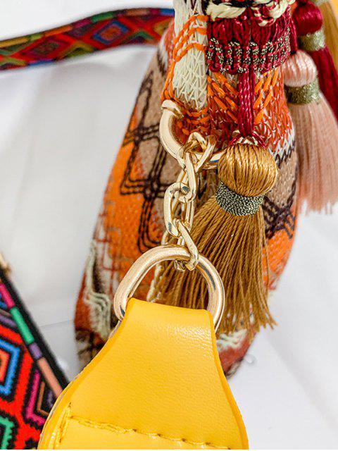 Sac à Bandoulière Zigzag Imprimé à Frange Style Bohémien - Jaune  Mobile