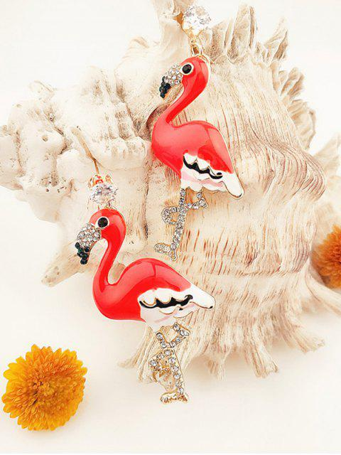 Boucles d'Oreilles Flamant Strass - Rouge  Mobile