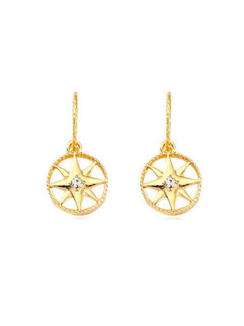 Strass étoiles boucles d'oreilles rondes - Or  Mobile