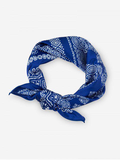 Foulard Carré Imprimé Style Bohémien - Bleu Myrtille  Mobile