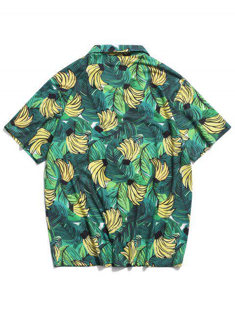 ZAFUL Chemise À Poche Devant Feuille De Bananier Et À Palmiers - Vert Printemps Moyen L Mobile