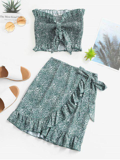 Conjunto de Falda de Bata Floral con Volantes - Verde S Mobile