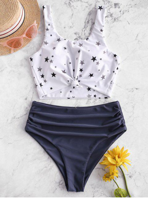outfit ZAFUL Star Print Knot Ruched Tankini Swimsuit - LIGHT SLATE GRAY S Mobile