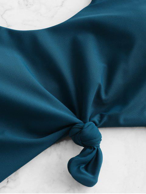 ZAFUL Принт морской звезды и раковины С бантом Монокини Купальник - Павлиний синий XL Mobile