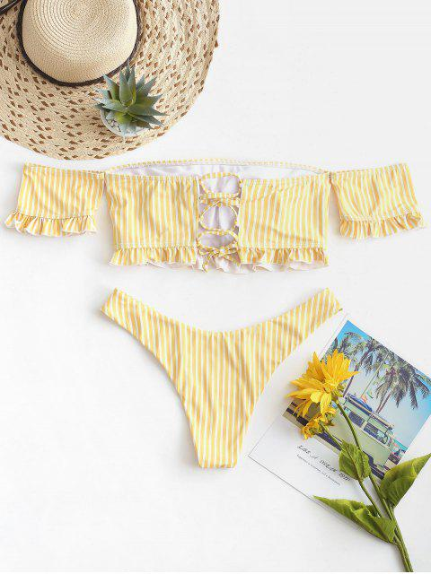 chic ZAFUL Striped Off Shoulder Lace Up Two Piece Swimsuit - CORN YELLOW S Mobile