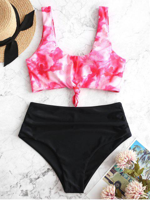 fancy ZAFUL Watercolor Knotted Tummy Control Tankini Swimsuit - MULTI-A L Mobile