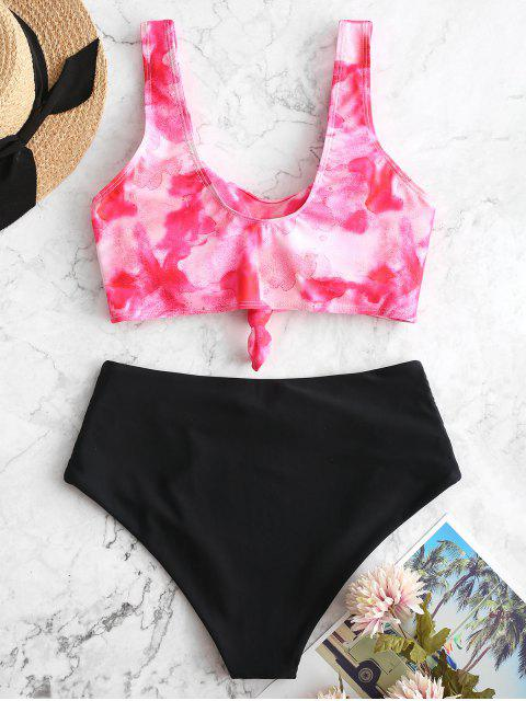 buy ZAFUL Watercolor Knotted Tummy Control Tankini Swimsuit - MULTI-A 2XL Mobile