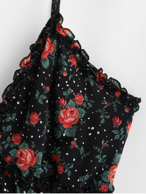 Robe Trapèze en Vichy Ourlet à Volants à Bretelle - Noir XL Mobile