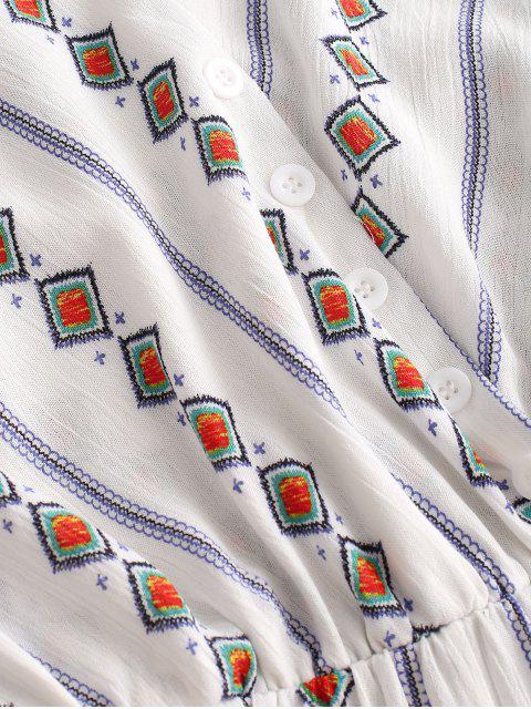 Bouton géométrique avec camisole de poche - Blanc XL Mobile
