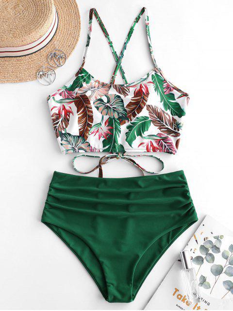 fashion ZAFUL Leaf Print Crisscross Ruched Tankini Swimsuit - MEDIUM SEA GREEN S Mobile