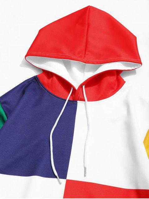 Sweat à Capuche Décontracté en Blocs de Couleurs Jointif avec Poche Kangourou - Blanc XL Mobile