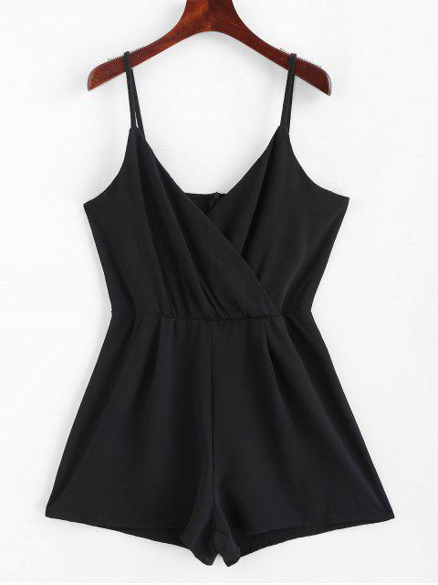 Combi-culotte Superposé en Couleur Unie à Bretelle - Noir XL Mobile