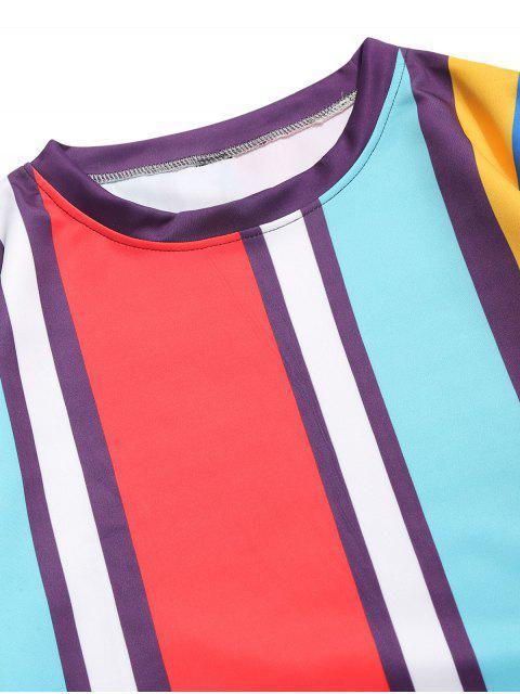 Sweat décontracté à rayures verticales et empiècement en blocs de couleurs - Bleu Zircon 3XL Mobile