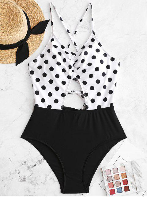 best ZAFUL Polka Dot Lace Up Cut Out Ruched Swimsuit - BLACK S Mobile