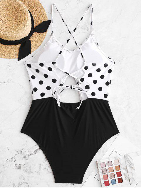 ZAFUL Polka Dot Lace Up Cut Out fruncido traje de baño - Negro L Mobile