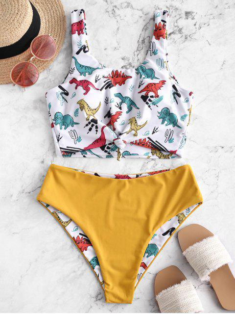 unique ZAFUL Dinosaur Print Knot Reversible Tankini Swimsuit - ORANGE GOLD L Mobile