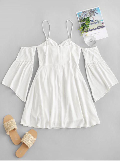 outfits ZAFUL Cold Shoulder Flare Sleeve Cinched Mini Dress - MILK WHITE S Mobile