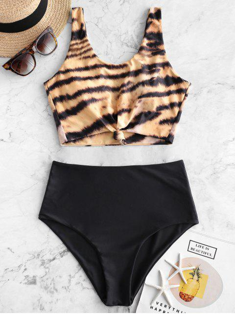 unique ZAFUL Animal Print Knotted High Waisted Tankini Swimsuit - MULTI-B L Mobile
