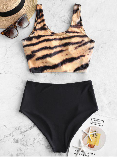 sale ZAFUL Animal Print Knotted High Waisted Tankini Swimsuit - MULTI-B XL Mobile