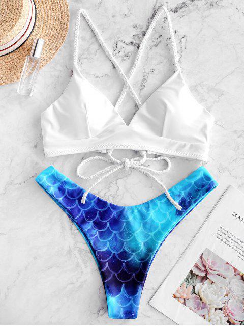 ZAFUL Bikini de Corte Alto con Cordones - Multicolor-A M Mobile