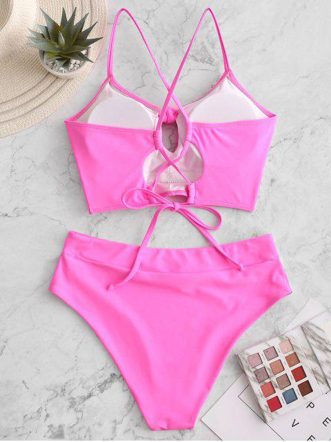 womens ZAFUL Lace Up Cross Knotted Tankini Swimsuit - NEON PINK L Mobile