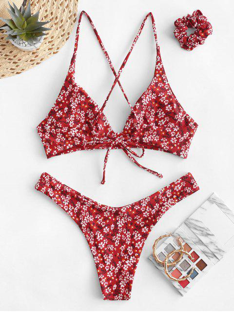 latest ZAFUL Tiny Floral Criss Cross Bikini Swimsuit with Hair Tie - LAVA RED S Mobile