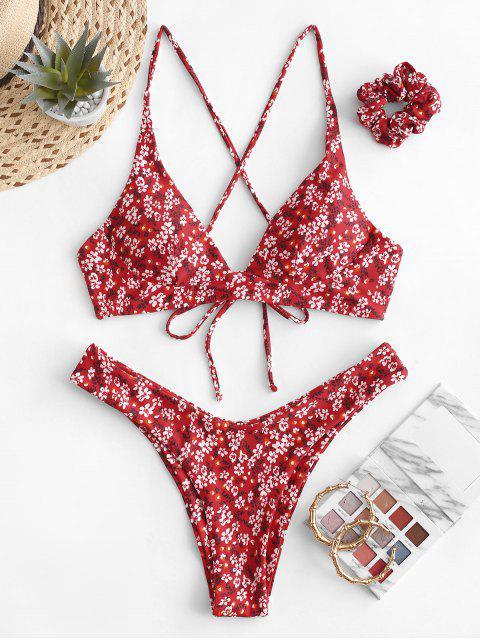 ZAFUL Maillot de Bain Bikini Croisé Fleuri avec Bande de Cheveux - Rouge Lave L Mobile