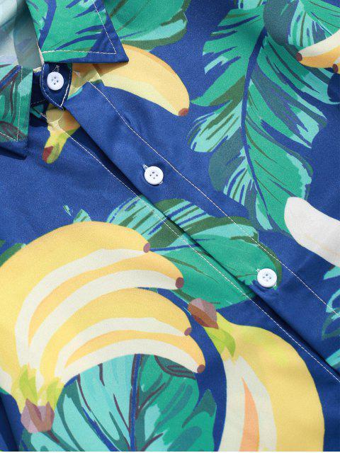 熱帶葉香蕉打印長袖鈕扣襯衫 - 中等海綠色 S Mobile