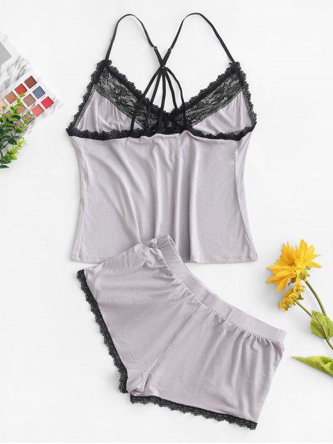 蕾絲插入蝴蝶結綁帶睡衣套裝 - 灰色雲彩 S Mobile