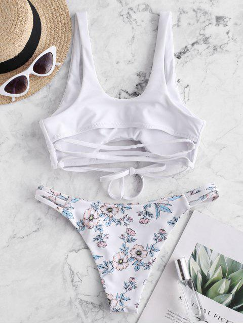 shops ZAFUL Floral Strappy Cutout Tank Bikini Swimsuit - WHITE S Mobile