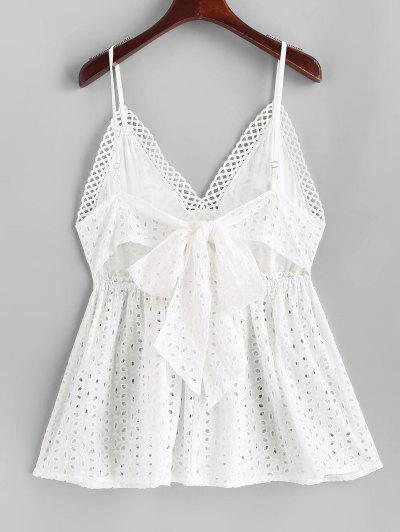 Lace Panel Eyelet Knotted Cami Top, White