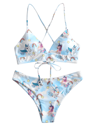 ZAFUL Unicorn Rainbow Star Print Lace Up Bikini Swimwear, Multi-a