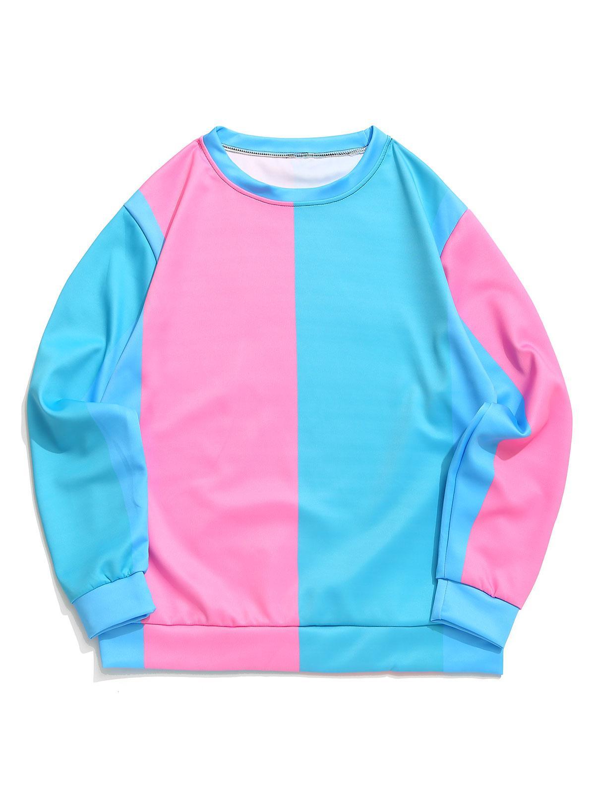 Blocco Di Colore Splicing Pannello Casual Pullover Felpa